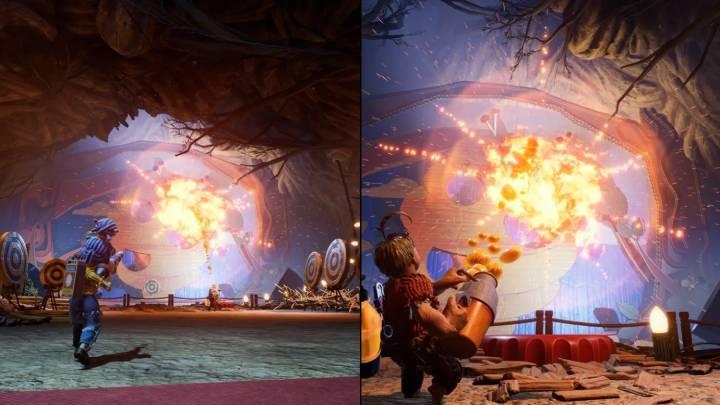 Oyun ekran ikiye bölünerek oynanıyor. Ancak yer yer kameranın tek plana düştüğü de oluyor.